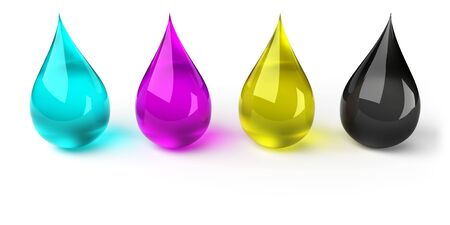 printer drawing: Drops in CMYK Stock Photo
