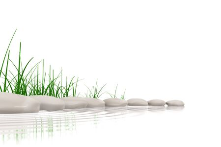water's edge:   Stones & grass at waters edge Stock Photo