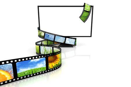 camera film: Film around blank TV