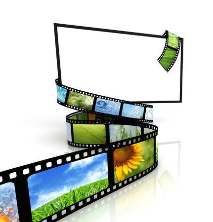 filmroll: Film around blank TV  Stock Photo
