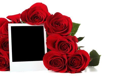 Bouquet di Rose con foto vuota  Archivio Fotografico - 6270856
