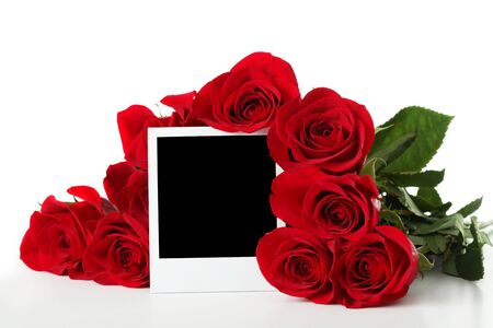 photo: Bouquet of roses with empty photo