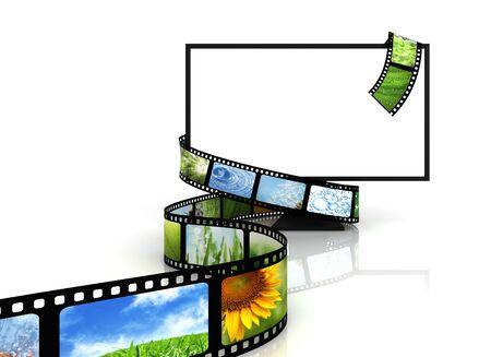 Roll film: Pel�cula alrededor de TV en blanco