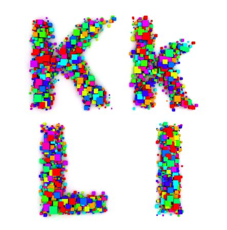 Letters made of colorful boxes photo