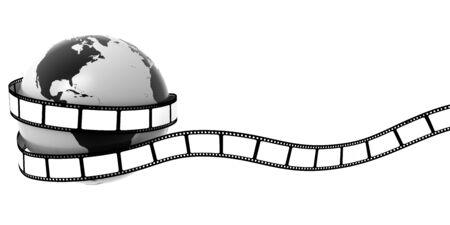 photo studio: Earth wrapped in film Stock Photo