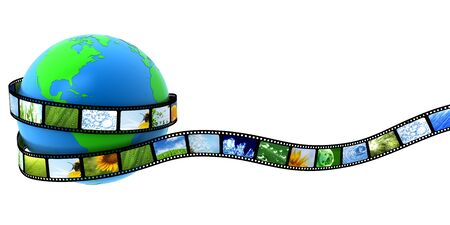 photo studio: Earth wrapped in film with images Stock Photo