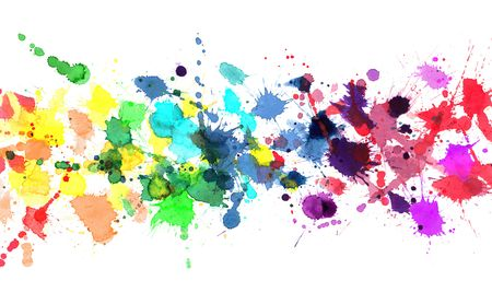 Rainbow of watercolor paint photo
