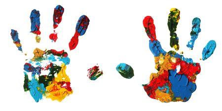 acrylic: Hand prints Stock Photo