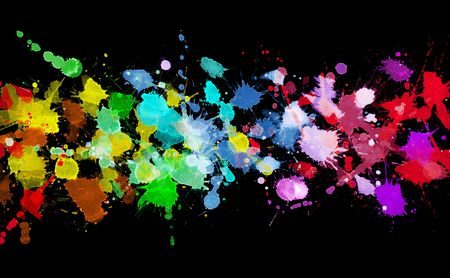 splats: Rainbow of watercolor paint Stock Photo