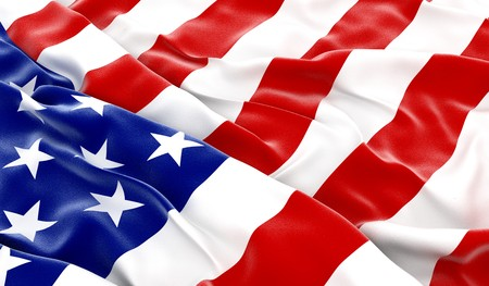 white wave: USA flag - 3D render Stock Photo