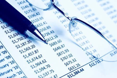 Closeup of a chart with pen & glasses Stock Photo - 7329728