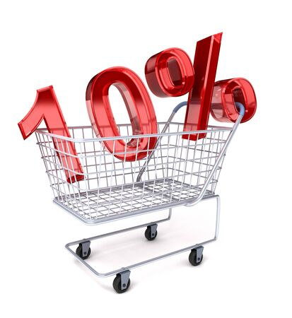 Shopping cart with 10% Stock Photo - 7447669
