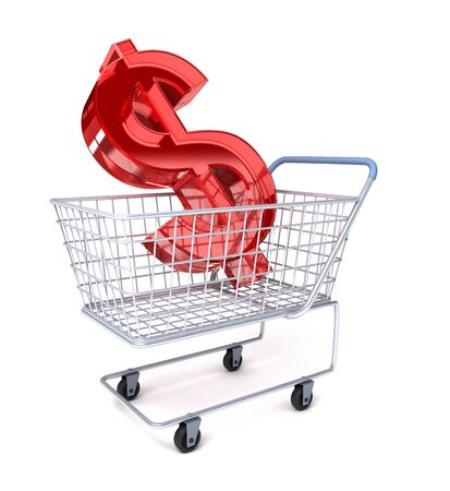 Carro de compras con el símbolo de dólar  Foto de archivo - 7447667