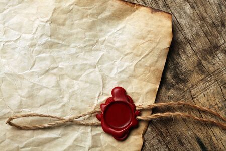 seal wax: Blank paper with wax seal Stock Photo