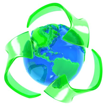 Recycle symbol with earth Stock Photo - 7492636