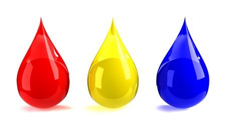 赤、黄色、& 青い滴 写真素材