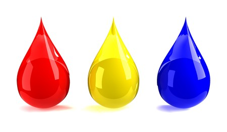 primary colours: Red, yellow, & blue drops Stock Photo