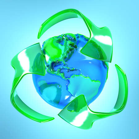 Recycle symbol with earth Stock Photo - 7590290