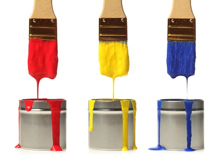 Paintbrushes dripping with paint 스톡 콘텐츠