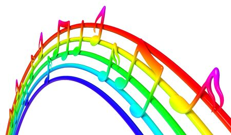rainbow colors: Colorful music notes
