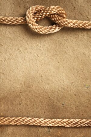 Handmade paper with rope border Stock Photo