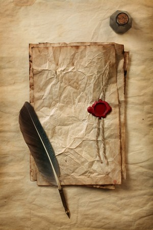 ink well: Blank paper with wax seal, quill & ink
