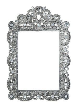 silver frame: Empty frame Stock Photo