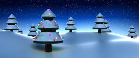 Winter scene with Christmas tree photo