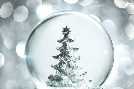 Snow globe with Christmas tree 免版税图像