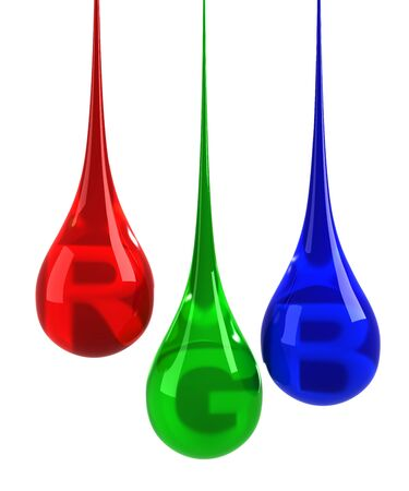 RGB drops isolated on white