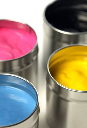 inkjet: CMYK cans of paint Stock Photo