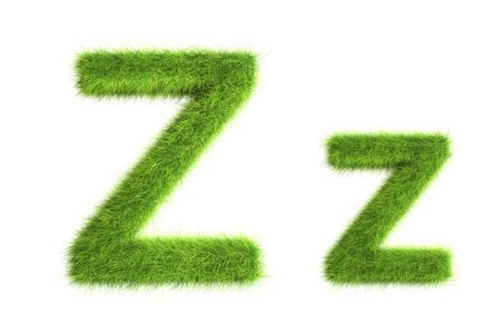 isolated: Grass letters, upper and lowercase