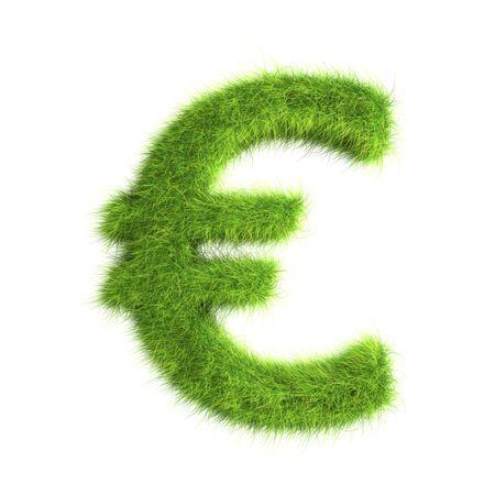 dinero euros: Signo de Euro de hierba Foto de archivo
