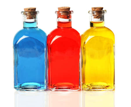 Blue, red, and yellow bottles