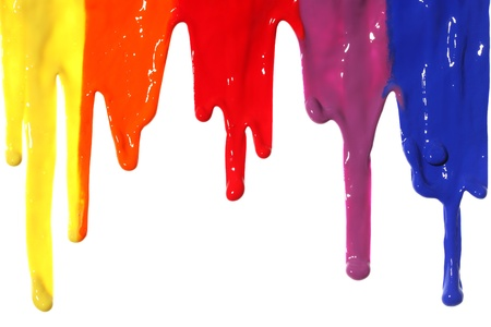 Different colors of paint dripping