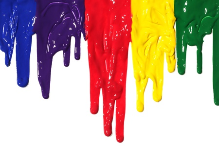 ooze: Different colors of paint dripping