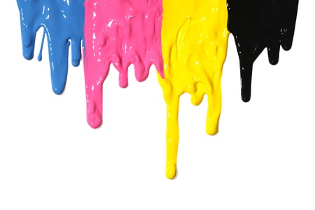 dripping paint: CMYK paint dripping isolated on white