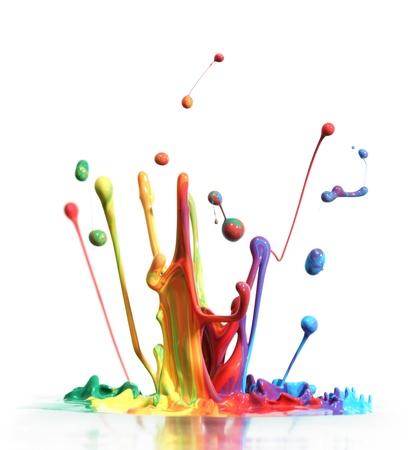colourful: Colorful paint splashing isolated on white Stock Photo