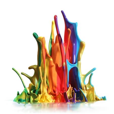 Peinture coloré éclaboussures isolé sur blanc Banque d'images - 9343651