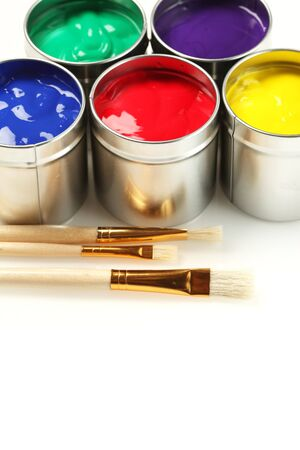 Cans of paint with paintbrushes Stock Photo - 9394754