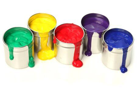 drippings: Latas de pintura Foto de archivo