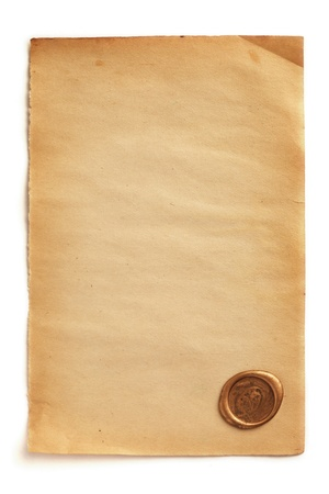 Old blank paper with wax seal photo