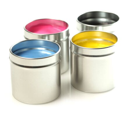 offset: CMYK cans of paint Stock Photo