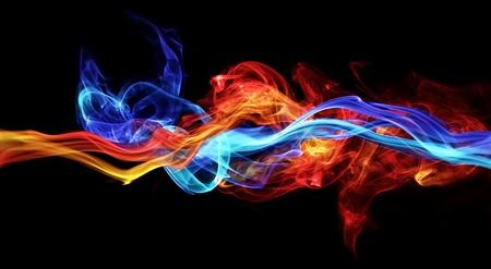 빨간색과 파란색 연기