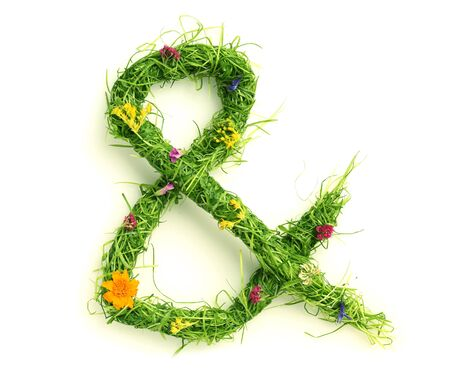 grass font: Ampersand made of flowers and grass isolated on white