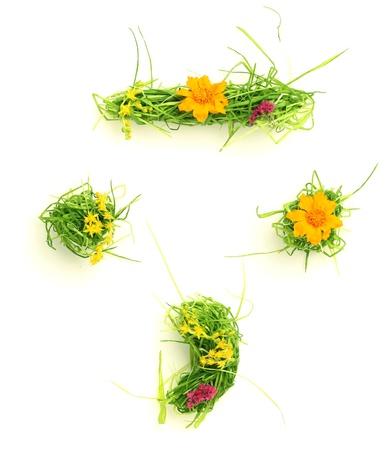 Symbolen gemaakt van bloemen en gras geïsoleerd op wit Stockfoto
