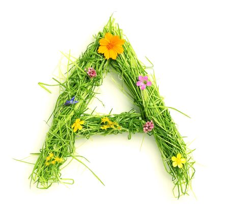 Letters made of flowers and grass isolated on white photo