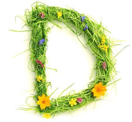 꽃과 흰색으로 격리 된 잔디로 만든 편지 스톡 콘텐츠