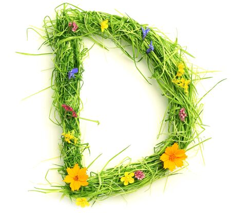 letters alphabet: Letters made of flowers and grass isolated on white Stock Photo