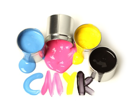 offset printing: CMYK cans of paint Stock Photo